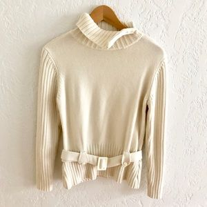 Worth Zip Turtleneck Belted Cream Ribbed Sweater M